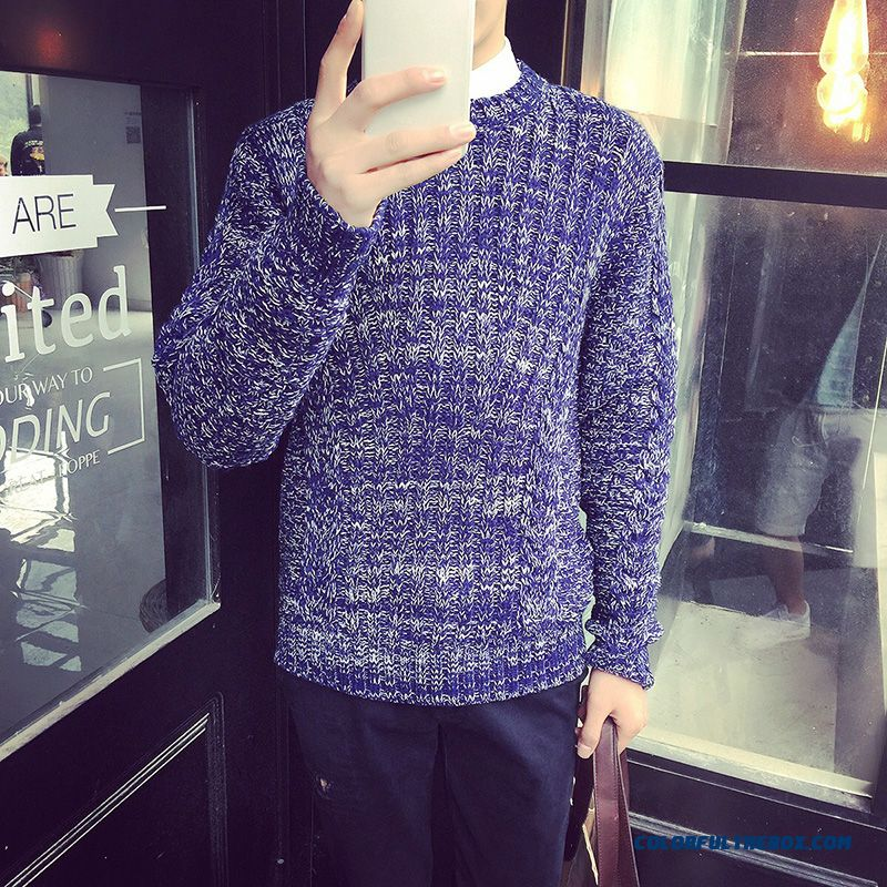 New Men's Clothing Bottoming Shirt Slim Diamond Gradient Color Pullover Sweater Casual Clothing
