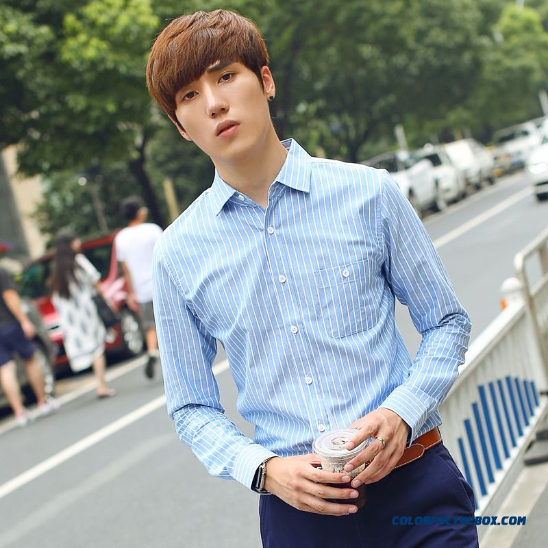 New Men's Cotton Long-sleeved Shirt Slim Blue White Striped Casual Clothing