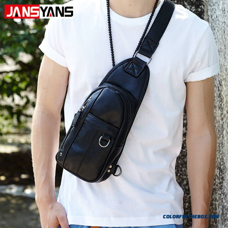 Cheap New Men S Crossbody Bags Chest Bag Pu Leather Front