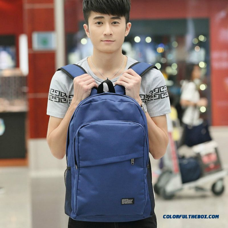 New Men's Lightweight And Durable Backpack College Students' Canvas Schoolbags