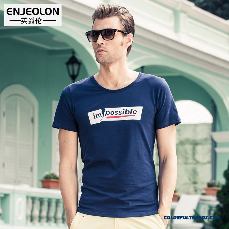 New Men's Slim Letters Printed Short-sleeved Tees Personality Free Shipping
