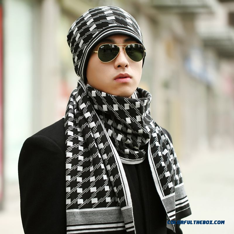 New Men's Two Piece Suit Hat Scarf Ultra-fine Texture Warm Winter Hat Cheap Closeout