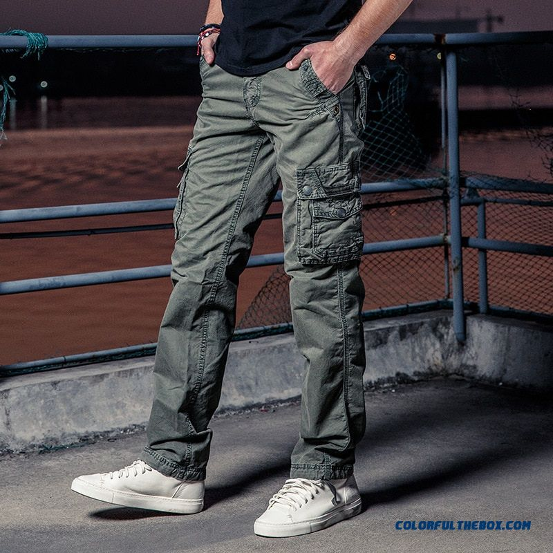 New Mens Military Cargo Pants Solid Khaki Breathable Summer Large Size Multi Pocket Long Trouser Hot Sale Spliced Pantalon Homme