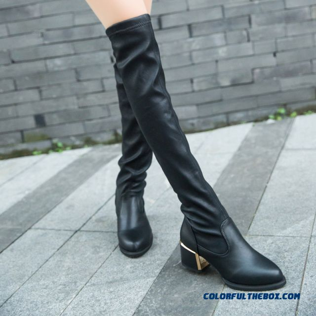 New Middle-heels Pointed Shoes Women Knee Boot Fashion Free Shipping
