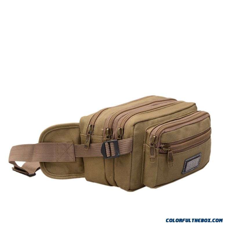 New Multi-layer Canvas Waist Packs Men Women Outdoor Casual Bag Multifunctional Bag