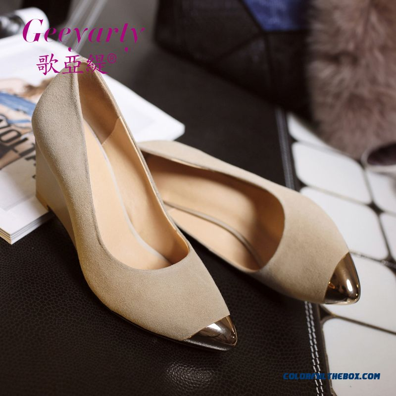 New Nubuck Wedge Heel High-heeled Pointed Shoes Women Pumps