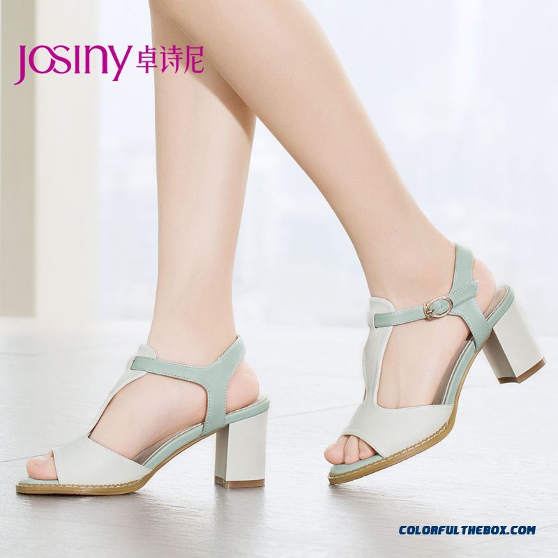 New Open-toed High-heeled Summer Sandals Spell Color Buckle Rough Heel Women Shoes