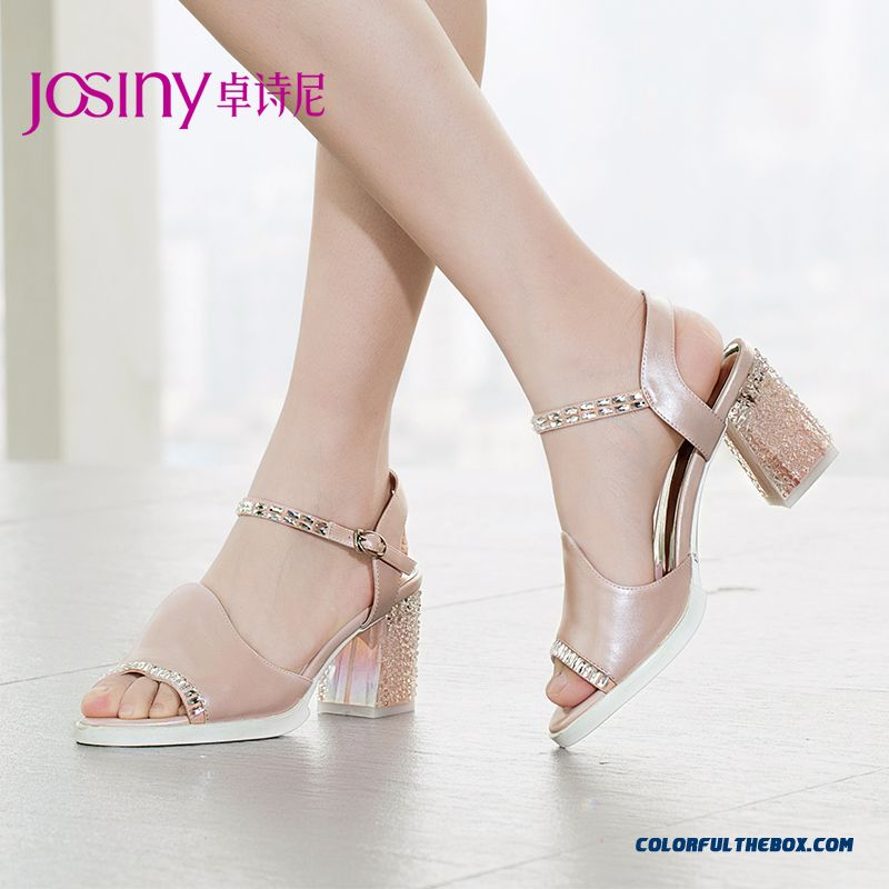 New Open-toed Rhinestones Decorative Sandals High-heeled Women Shoes With Rough Heel