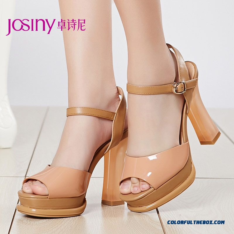 New Open-toed Sandals Sweet Rough Heel With Waterproof Patent Leather Women Shoes