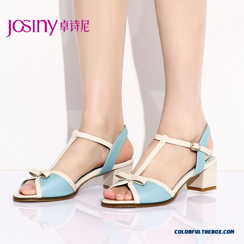 New Open-toed Sandals With Rough Heel High-heeled Women Shoes Bow-tie Decorative