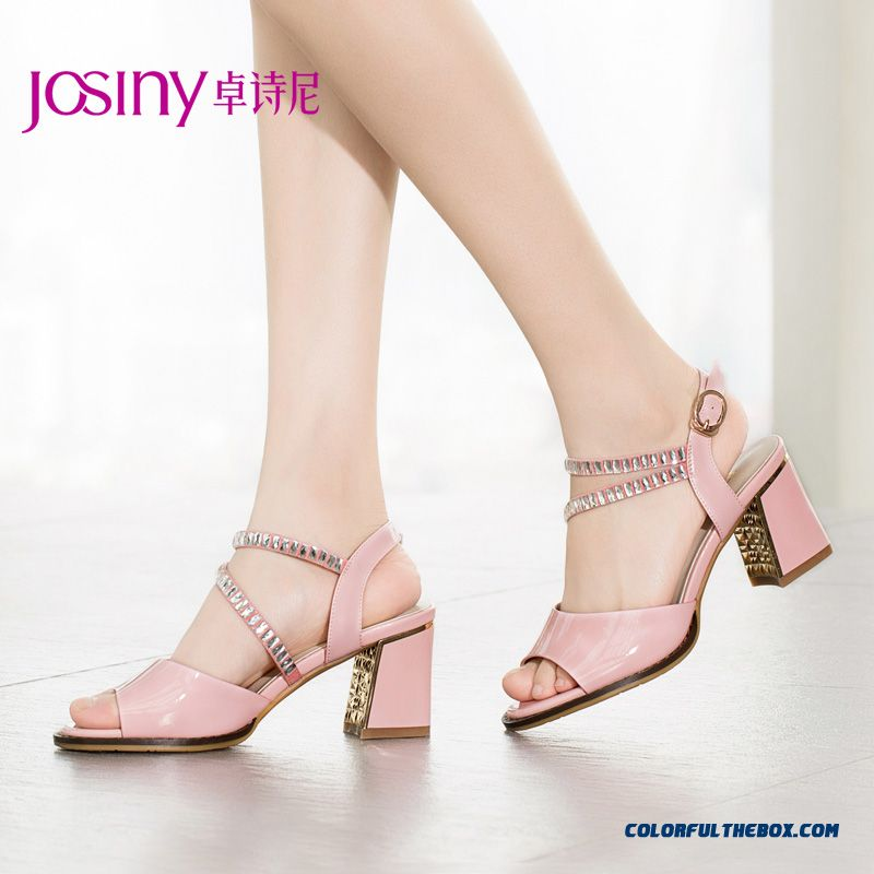 New Open-toed Women European And American Style Of Rhinestones Buckle Heels Square Heel Sandals