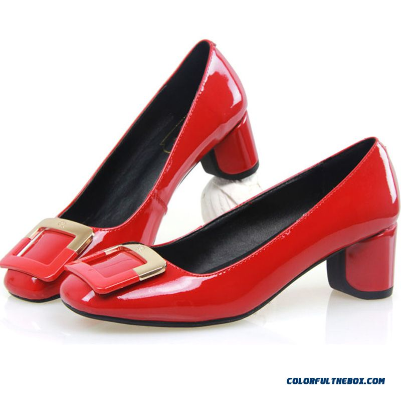 New Patent Leather Shoes Round-toe Shallow Mouth Sweet Comfort Low-heels Women Pumps