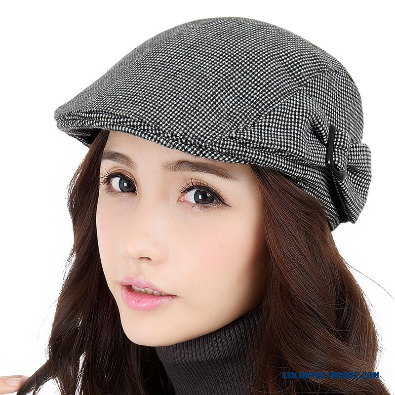 New Peaked Cap Women Fashion Ladies Black And Gray Grid Hat White Collar  Leisure Hats On c3b72aa4ec