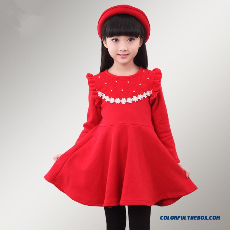 New Plus Thick Velvet Girls Kids Long-sleeved Princess Dress Pink Red
