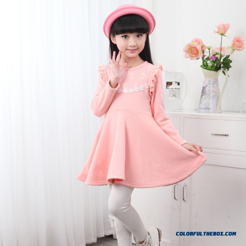 New Plus Thick Velvet Girls Kids Long-sleeved Princess Dress Pink Red - more images 2