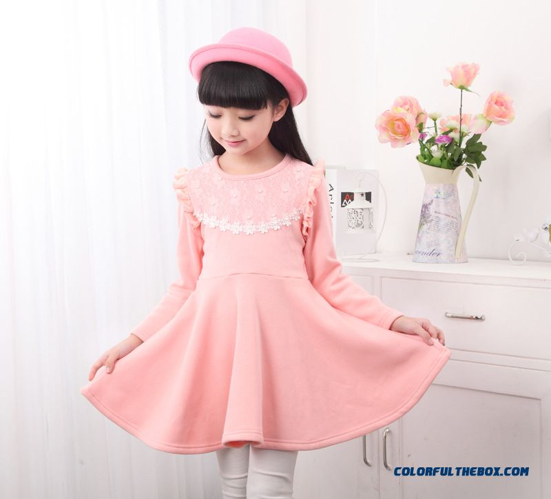 New Plus Thick Velvet Girls Kids Long-sleeved Princess Dress Pink Red - more images 3
