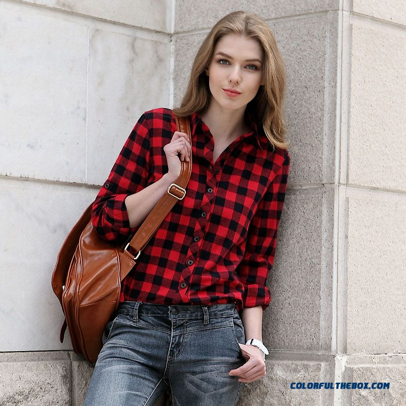 New Popular In European And American Slim Blouses Classic Plaid Long-sleeved Women Shirt