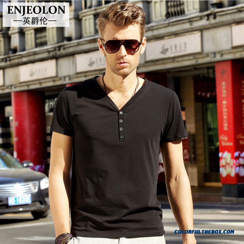 New Popular In European And American V-neck Short Sleeve Pure Color Summer T-shirts Cotton