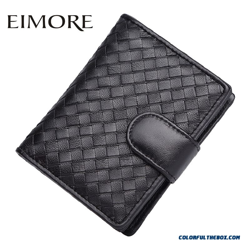 New Popular Portable Women Models Knit Zipper Hasp Genuine Leather Wallet Simple Bags Two Fold Wallets
