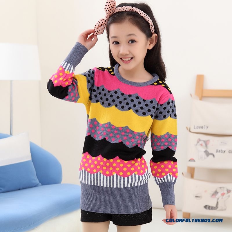 New Princess Girls Big Kids Sweater Girls Bottoming High Collar Shirt Bottoming Korean Version Of Sweet Clothing - more images 1