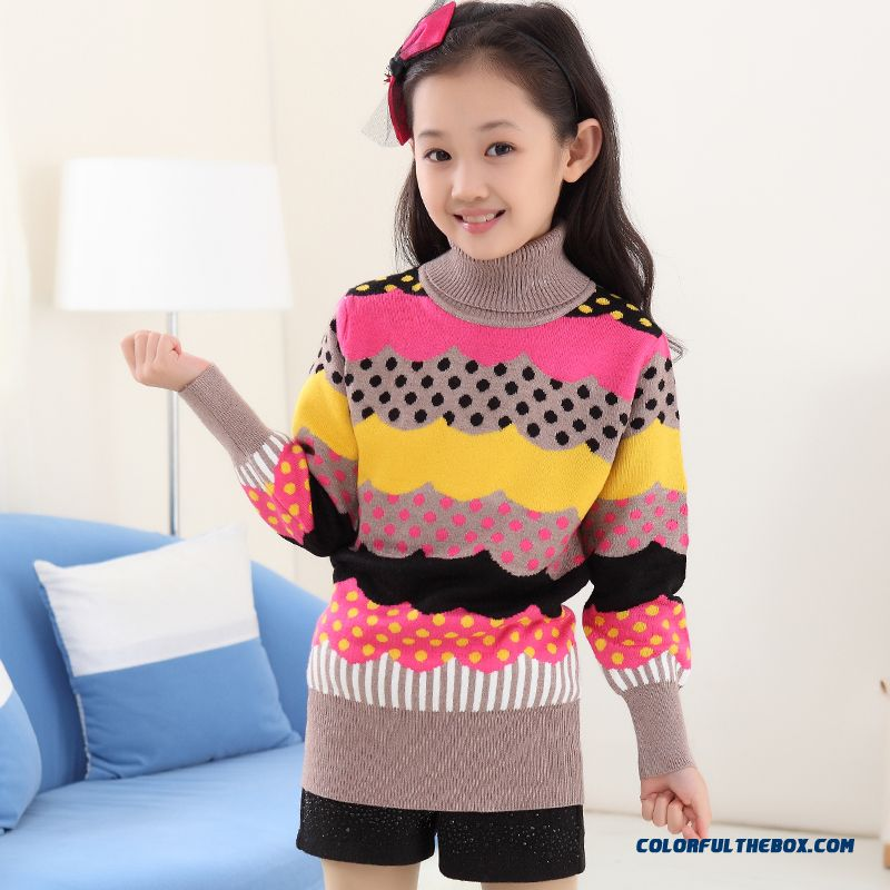 New Princess Girls Big Kids Sweater Girls Bottoming High Collar Shirt Bottoming Korean Version Of Sweet Clothing - more images 2