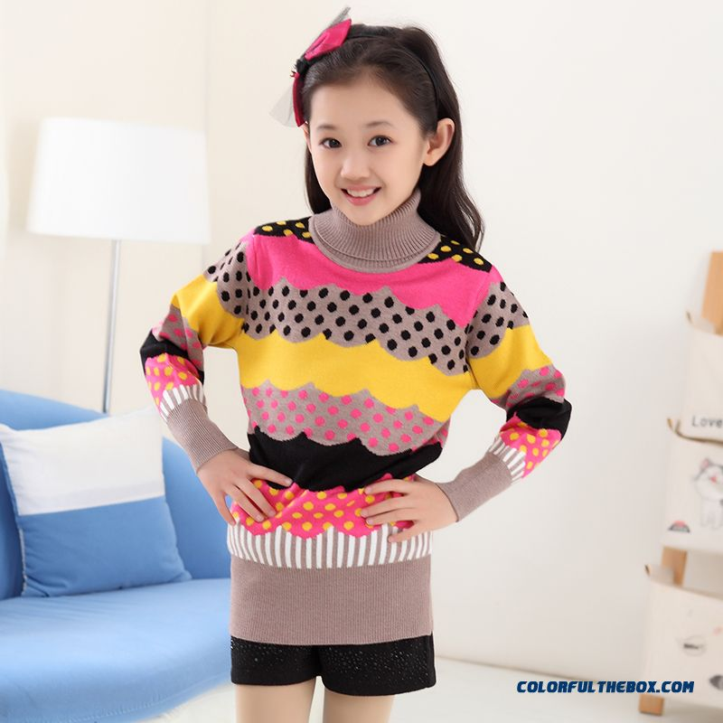 New Princess Girls Big Kids Sweater Girls Bottoming High Collar Shirt Bottoming Korean Version Of Sweet Clothing - more images 3