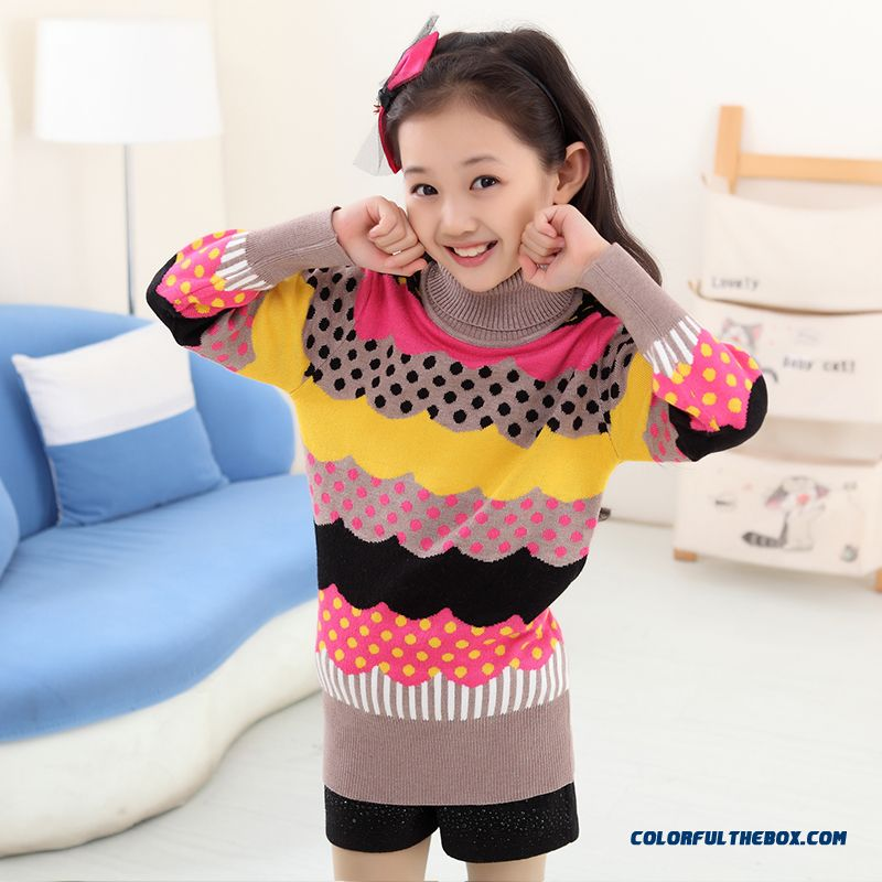 New Princess Girls Big Kids Sweater Girls Bottoming High Collar Shirt Bottoming Korean Version Of Sweet Clothing - more images 4