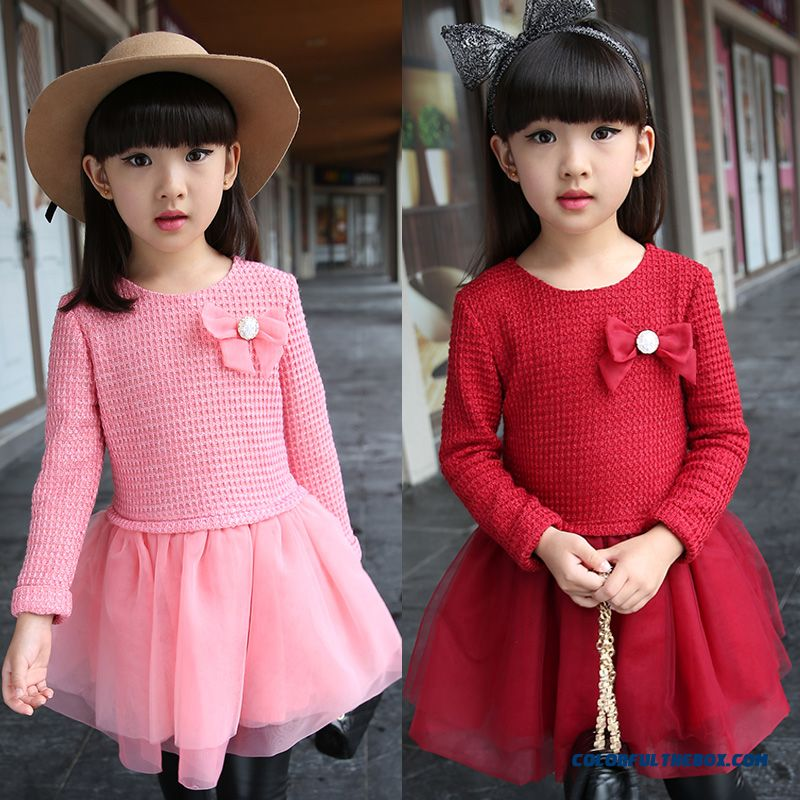 New Products 2016 Kids Good Quality Girls Dress Red Pink