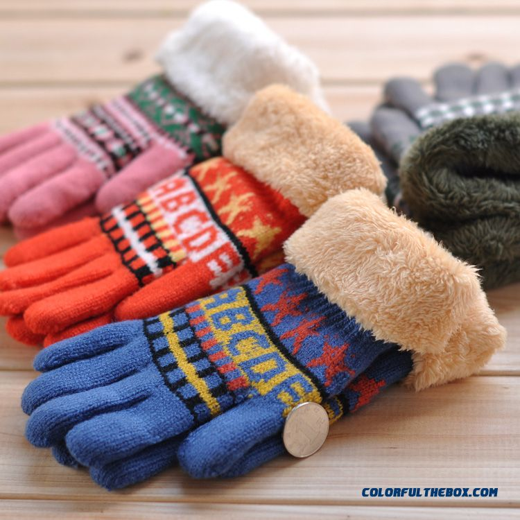New Products Boys And Girls Warm Winter Knitted Gloves Student Kids Five Fingers Plus Thick Velvet Unedged Mittens