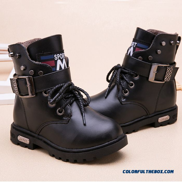 New Products Kids Shoes Winter Genuine Leathe Rshoes Martin Boots Plus Velvet Big Boy Boots Black
