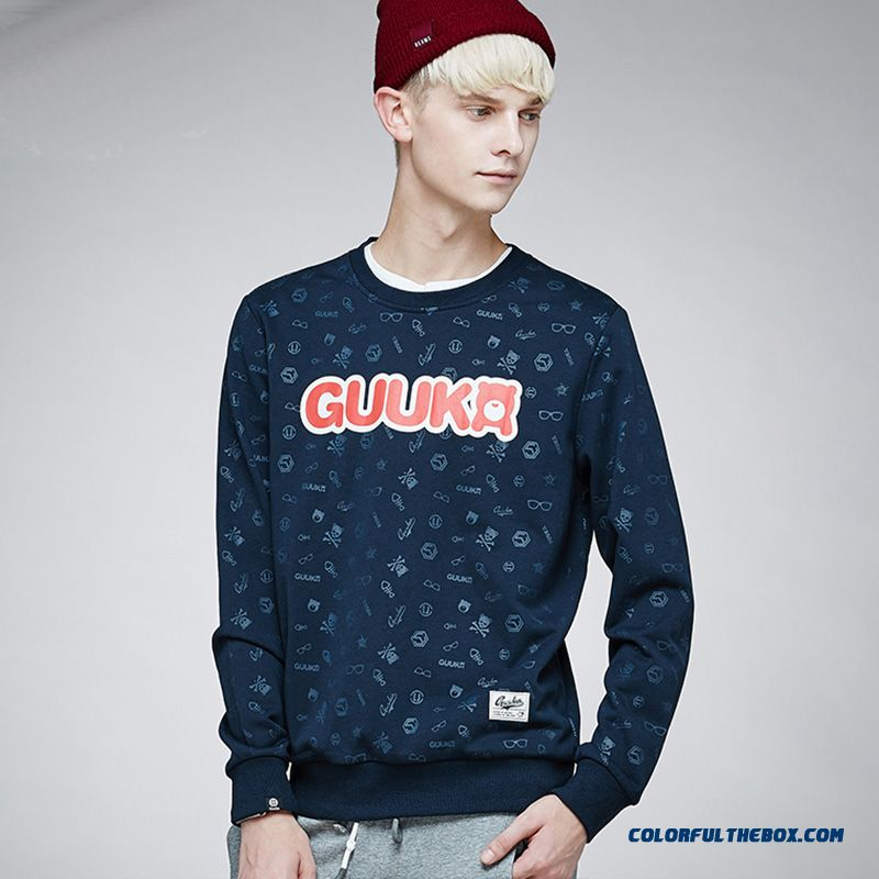 New Pullover Long-sleeved Round Neck Sweatshirts Men Clothing Fashion Personality Tide Printing