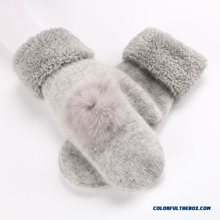 New Rabbit Fur Hairball Girl Cute Plush Full Finger Wool Double Thick Warm Mittens Womn Winter Accessories