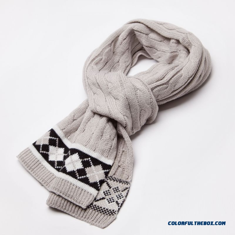 New Retro Cable Knit College Style England Check Warm Scarves For Men And Women