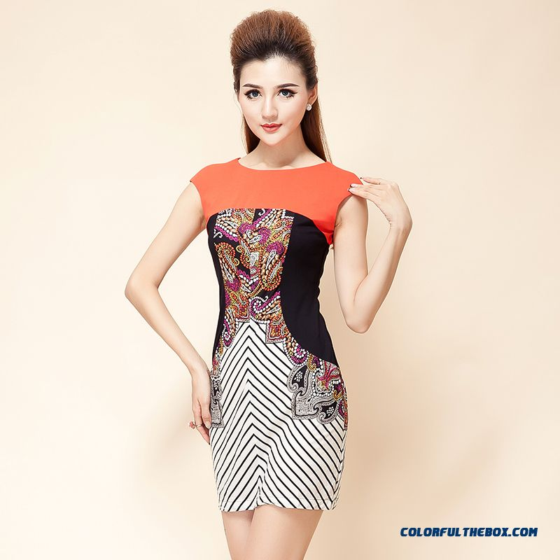 New Retro Pattern Stripes Hit Color Stitching Thin Sleeveless Dress Women Summer Clothing