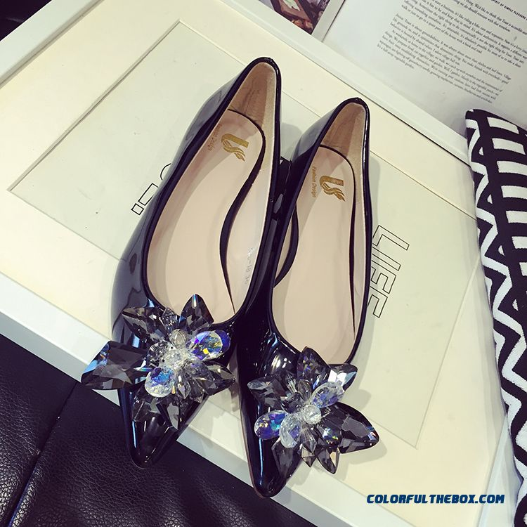 New Shallow Mouth Fall Women Flat Shoes Rhinestones Black Pointed - more images 4