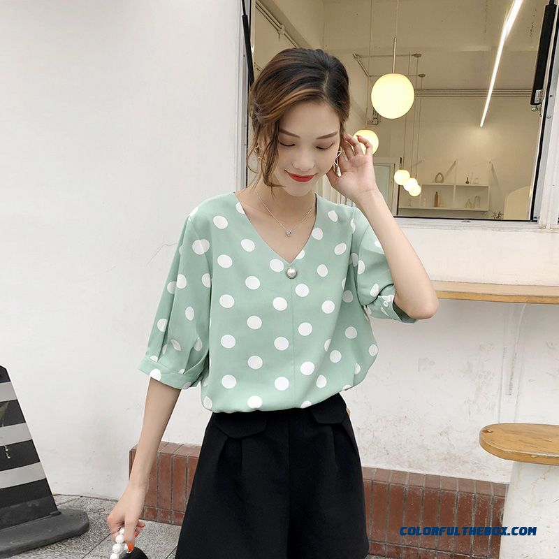 New Shirt Short Sleeve Green 2019 Coat Summer Temperament V-neck Fashion Chiffon Europe Women's Loose