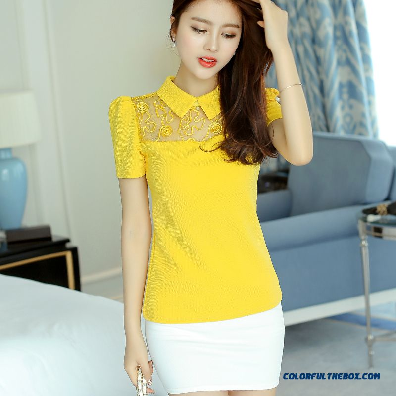 New Short-sleeve Women T-shirt Lace Summer Yellow Free Shipping