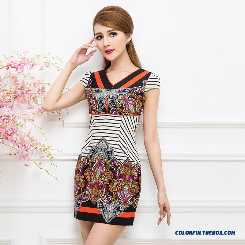 New Short-sleeved V-neck Printed Abstract Pattern Stitching Stripe Dress Women Cheap Affordable