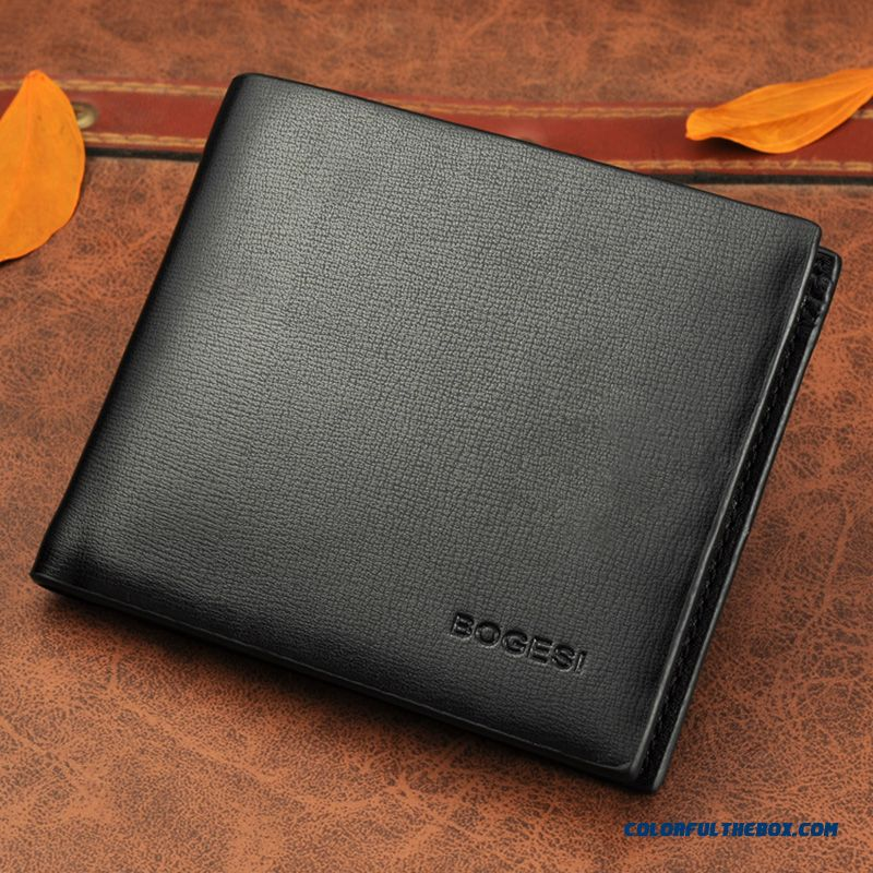 New Simple Black Classic Men Shor Wallets Bags Business Casual Youth Wallets Men's Horizontal Version Ultra - Thin Wallets