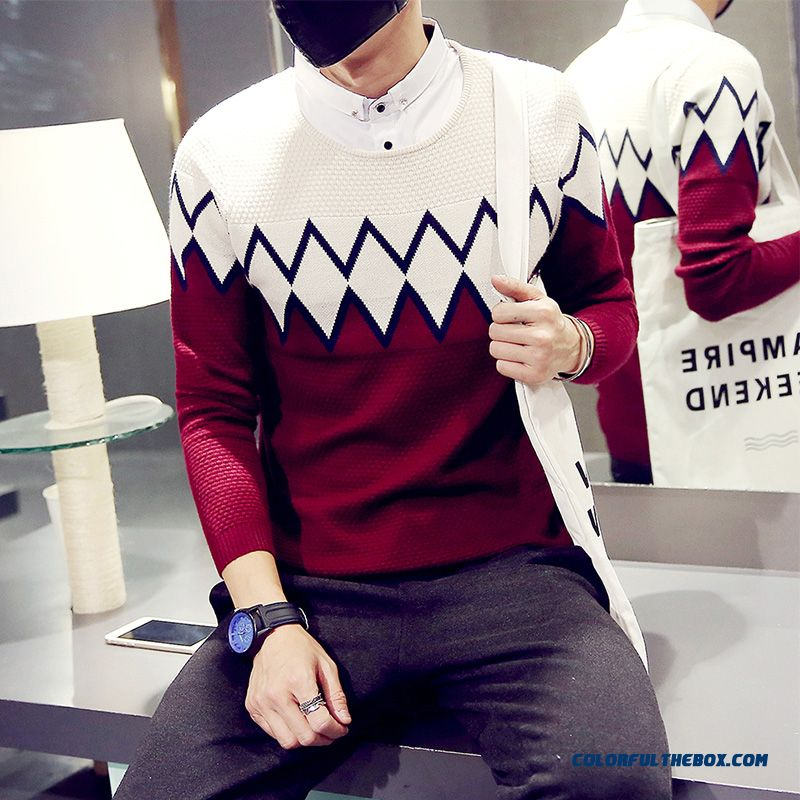 New Slim Fake Two-piece Pullover Men Sweaters Free Shipping