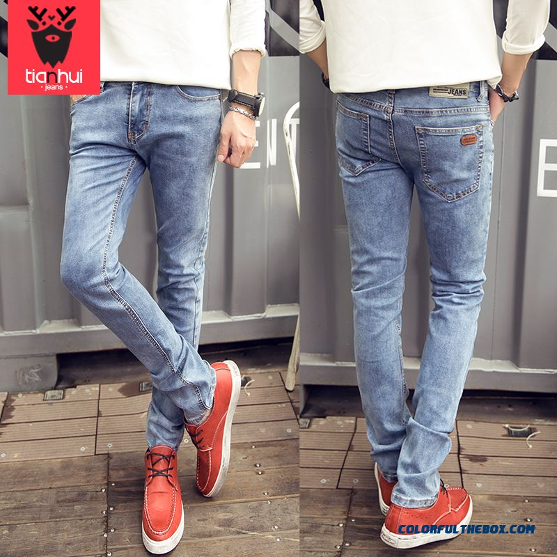 New Slim Straight Jeans Men Retro Simple Casual Long Trousers