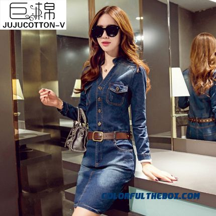 New Slim Thin Long-sleeved Women Dress Medium-long Vintage Denim Women Dress
