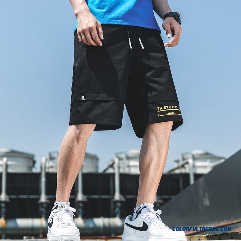 New Sport Europe Trend Men's Shorts Short Pants Summer Leisure Loose Tooling Black Cropped Trousers