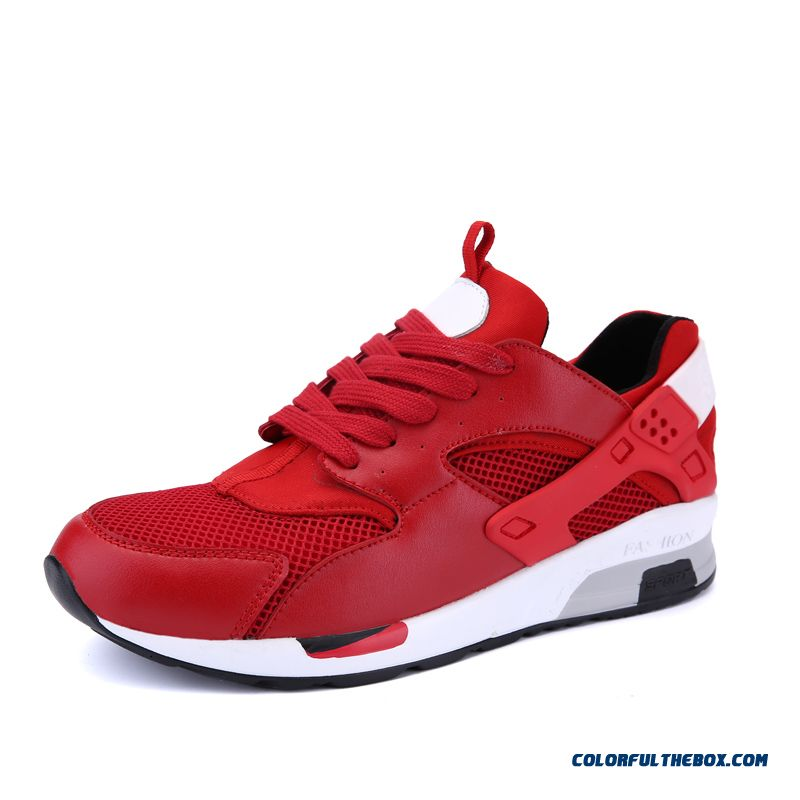 New Sport Style Comfort Breathable Mesh Thick Botom Men's Running Shoes Red