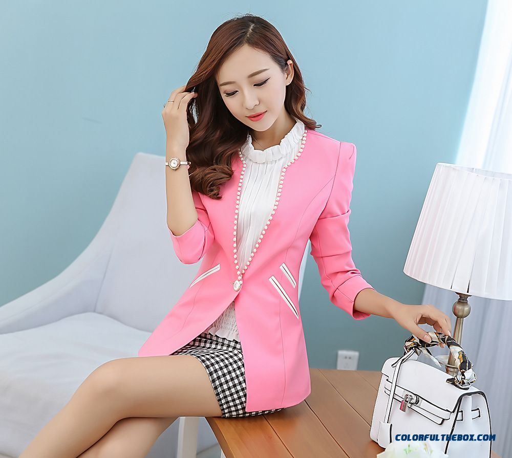New Spring A Buckle Small Suit Women Coats Pink Yellow