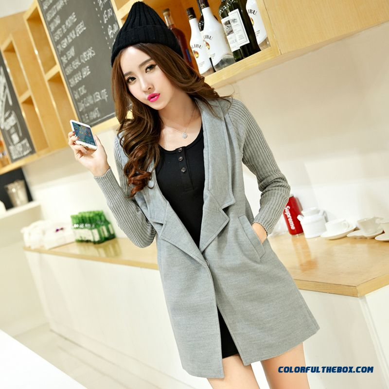 New Spring And Autumn Casual Woolen Coat Button Cardigan Grey Red Soldes