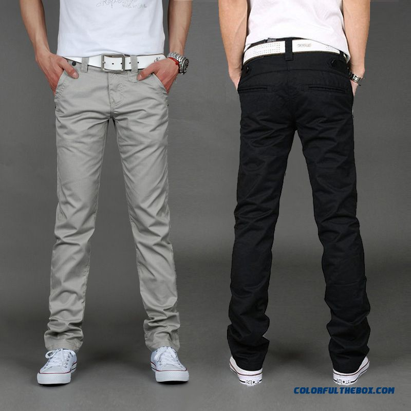 New Spring And Summer Casual Slim Straight Men Long Pants Grey