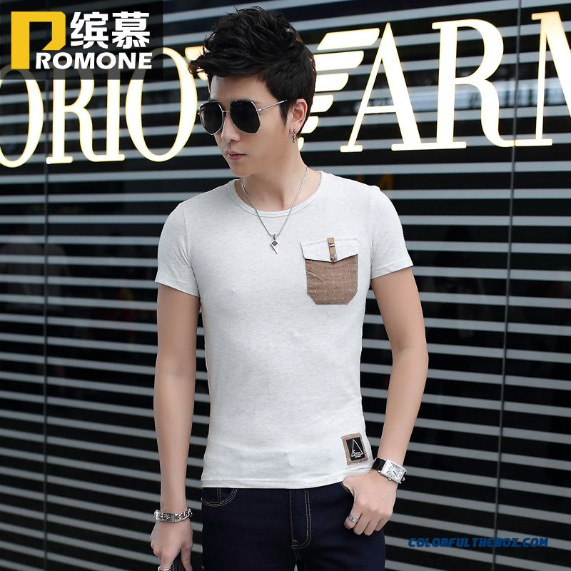 New Spring And Summer Men's Short-sleeved Tees Render Unlined Upper Garment Crew Neck Slim