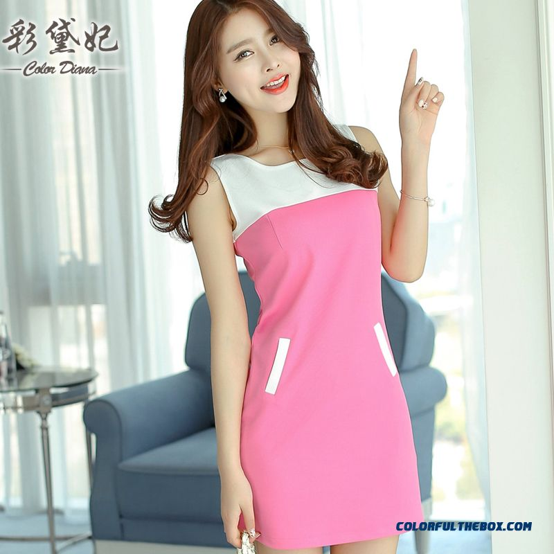 New Spring And Summer Women Sleeveless Dress Slim Elegant Cheap Free Shipping