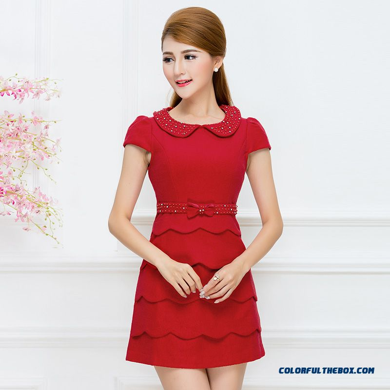 New Spring Fashion Slim Diamond Doll Collar Cake Dresses Red Blue High-cut Women Clothing